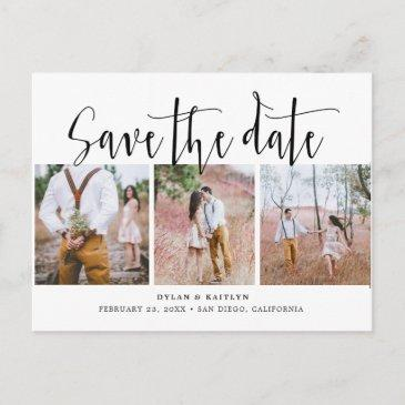 rustic script three photos save the date post