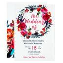 rustic spring navy red boho floral wreath wedding invitations