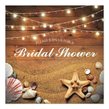 Small Rustic Starfish Beach Light Tropical Bridal Shower Invitationss Front View