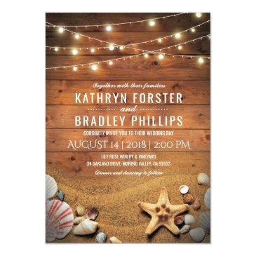 Small Rustic Starfish Beach Lights Tropical Wedding Invitationss Front View