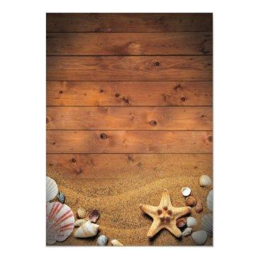 Small Rustic Starfish Beach Lights Tropical Wedding Invitationss Back View