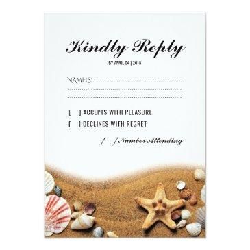 Small Rustic Starfish Beach Lights Tropical Wedding Rsvp Invitationss Front View