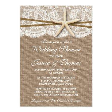 rustic starfish beach wedding shower invitationss