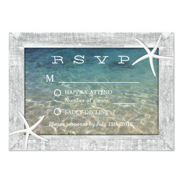 Small Rustic Starfish Wood Framed Beach Wedding Rsvp Invitationss Front View