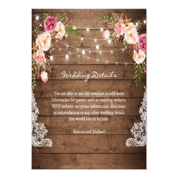 Small Rustic String Lights Floral Lace Wedding Details Front View