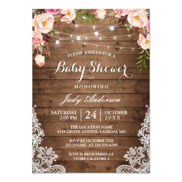 rustic string lights lace floral baby shower