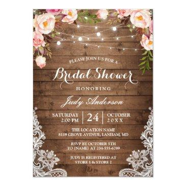 Small Rustic String Lights Lace Floral Bridal Shower Invitationss Front View