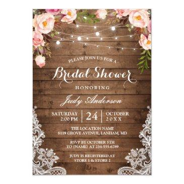 rustic string lights lace floral bridal shower