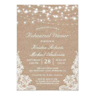 Small Rustic String Lights Lace Wedding Rehearsal Dinner Invitationss Front View