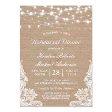 rustic string lights lace wedding rehearsal dinner invitations