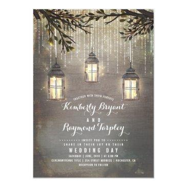 Small Rustic String Lights Lanterns Country Wedding Invitationss Front View