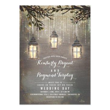 rustic string lights lanterns country wedding invitation