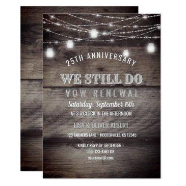 rustic string lights mason jar wood vow renewal invitation