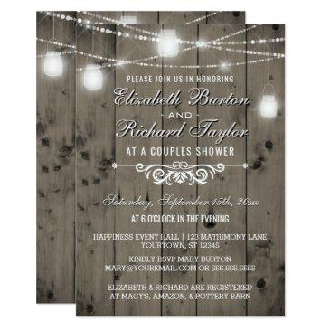 rustic string lights mason jars couples shower