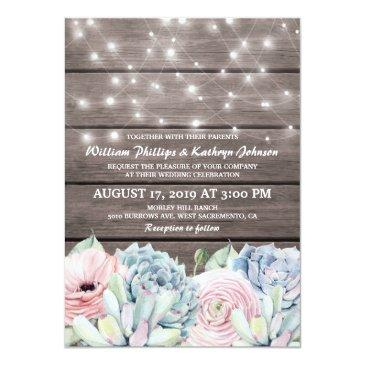 rustic string lights succulent floral wedding invitations