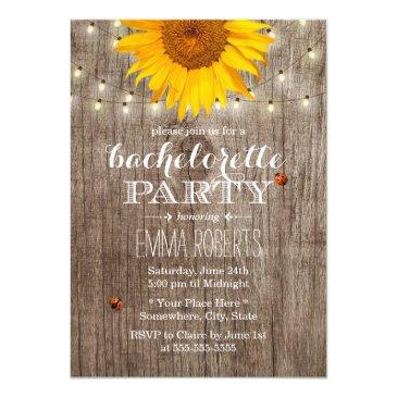 rustic string lights sunflower bachelorette party invitation