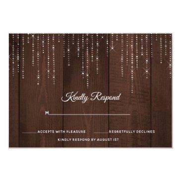 rustic string lights wedding rsvp invitation