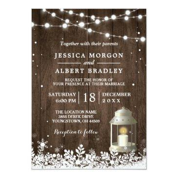 Small Rustic String Lights White Lantern Winter Wedding Invitations Front View