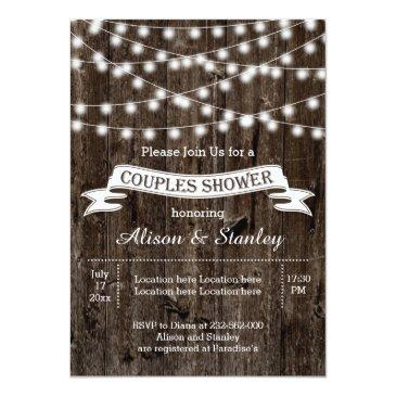 Small Rustic String Lights Wood Wedding Couples Shower Invitationss Front View