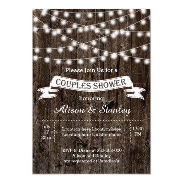 rustic string lights wood wedding couples shower invitations