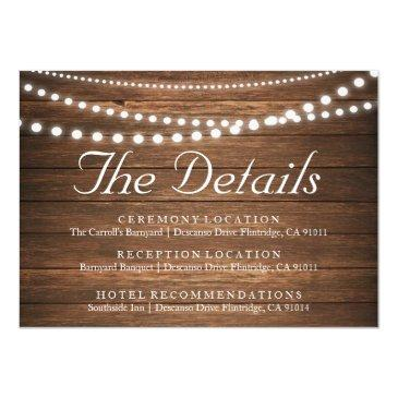 rustic string of lights wedding details invitationss