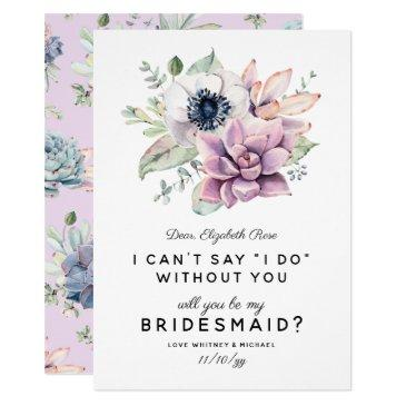 rustic succulent bloom | will you be my bridesmaid invitations