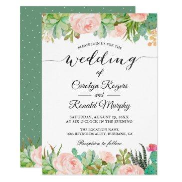 rustic succulent cactus blush green floral wedding