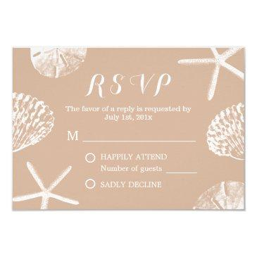 rustic summer beach seashells wedding rsvp