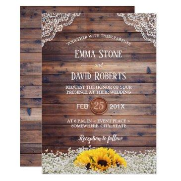rustic sunflower & baby's breath country wedding