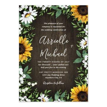 Small Rustic Sunflower Baby's Breath Wedding Invitationss Front View
