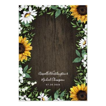 Small Rustic Sunflower Baby's Breath Wedding Invitationss Back View