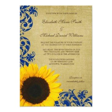 rustic sunflower blue swirls