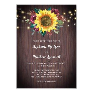 Small Rustic Sunflower Burgundy Rose Wood Lights Wedding Invitation Front View
