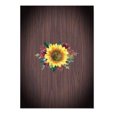 Small Rustic Sunflower Burgundy Rose Wood Lights Wedding Invitation Back View