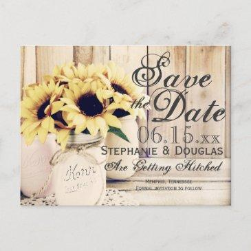 rustic sunflower mason jar save the date post