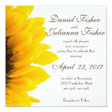 Small Rustic Sunflower Wedding Invitations Front View