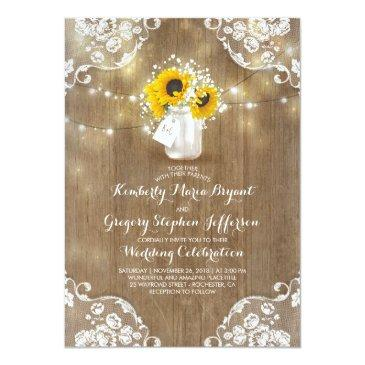 rustic sunflowers and baby's breath fall wedding invitations