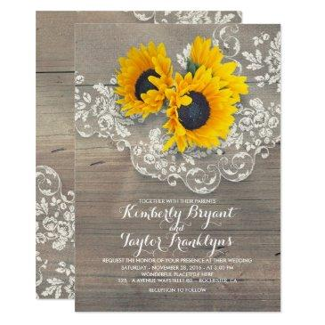 rustic sunflowers and vintage floral lace wedding
