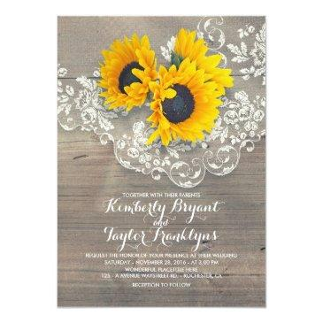 Small Rustic Sunflowers And Vintage Floral Lace Wedding Front View