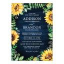 rustic sunflowers baby's breath navy blue wedding invitation