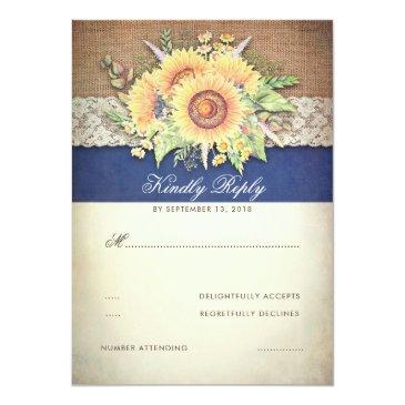 Small Rustic Sunflowers Burlap Navy Wedding Rsvp Front View