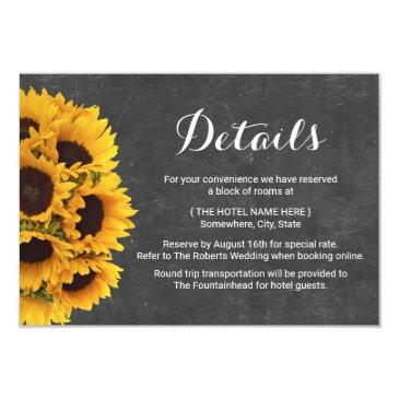 rustic sunflowers chalkboard wedding details invitations