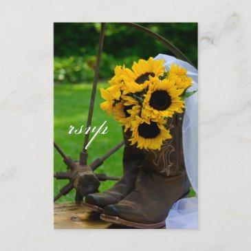 rustic sunflowers cowboy boot country wedding rsvp