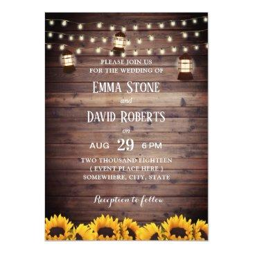 Small Rustic Sunflowers Lantern & String Lights Wedding Invitation Front View