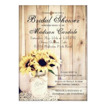 Small Rustic Sunflowers Mason Jar Bridal Shower Invites Front View