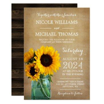 rustic sunflowers mason jar country wedding