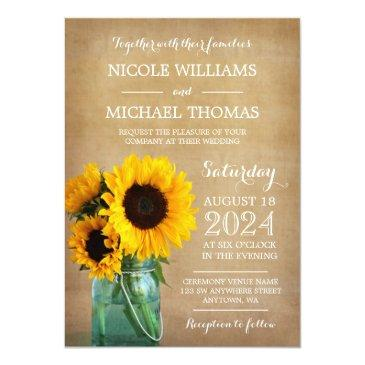Small Rustic Sunflowers Mason Jar Country Wedding Front View