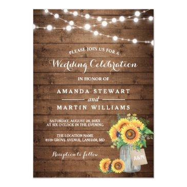 rustic sunflowers mason jar string lights wedding