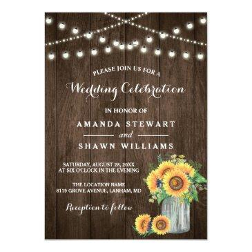 Small Rustic Sunflowers Mason Jar String Lights Wedding Front View