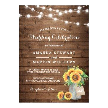 rustic sunflowers mason jar string lights wedding invitations